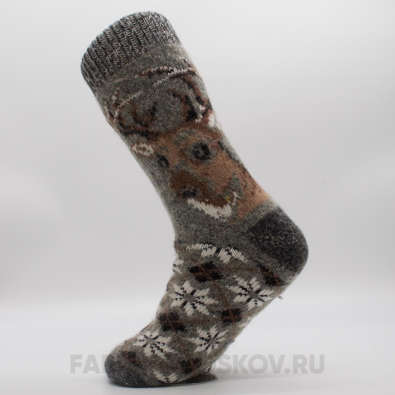 Мужские шерстяные носки с оленем и орнаментом