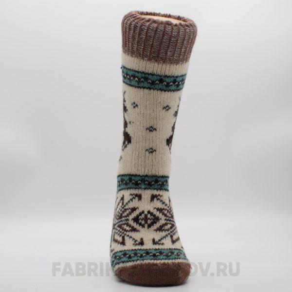 Мужские длинные шерстяные носки с оленем и снежинкой