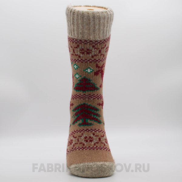 Женские шерстяные носки с оленями и елками