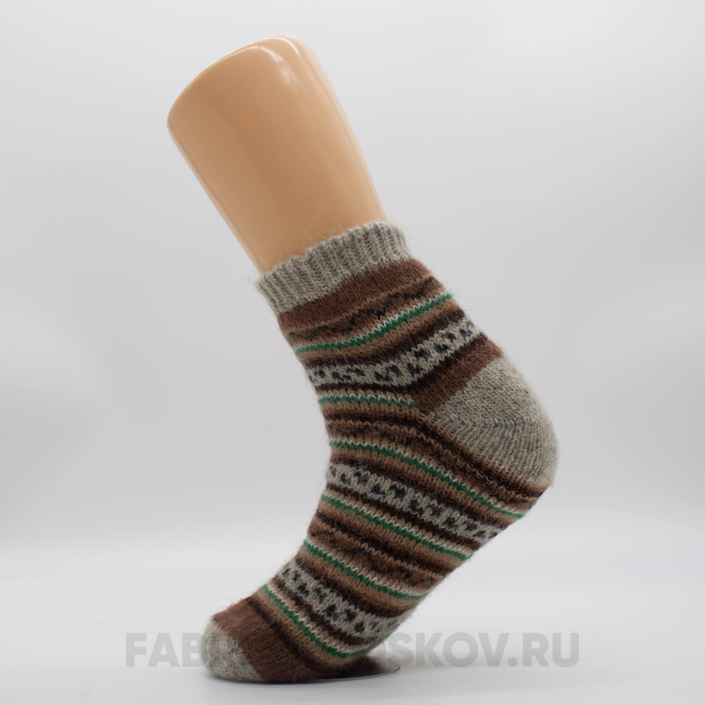 Мужские короткие шерстяные носки с полосами