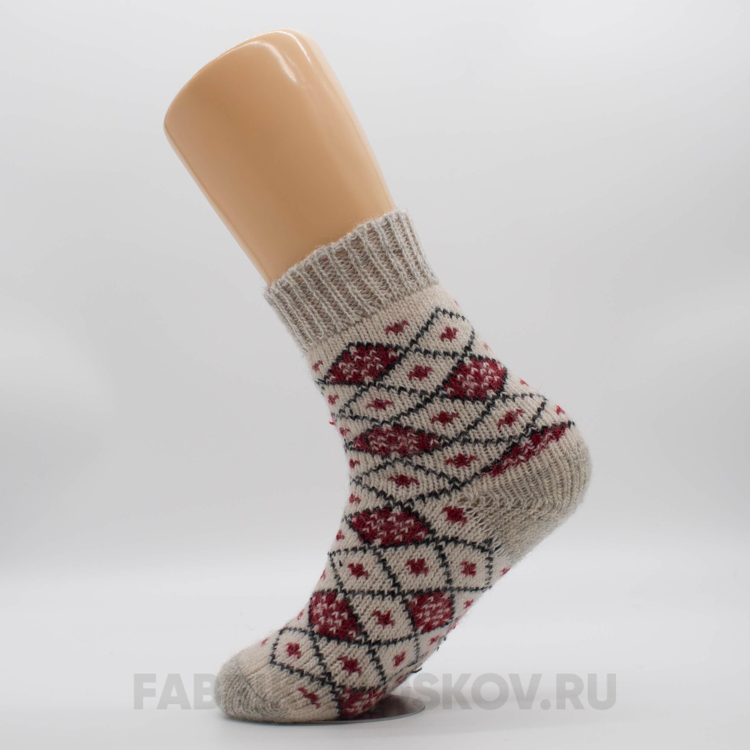 Женские короткие шерстяные носки в ромбик