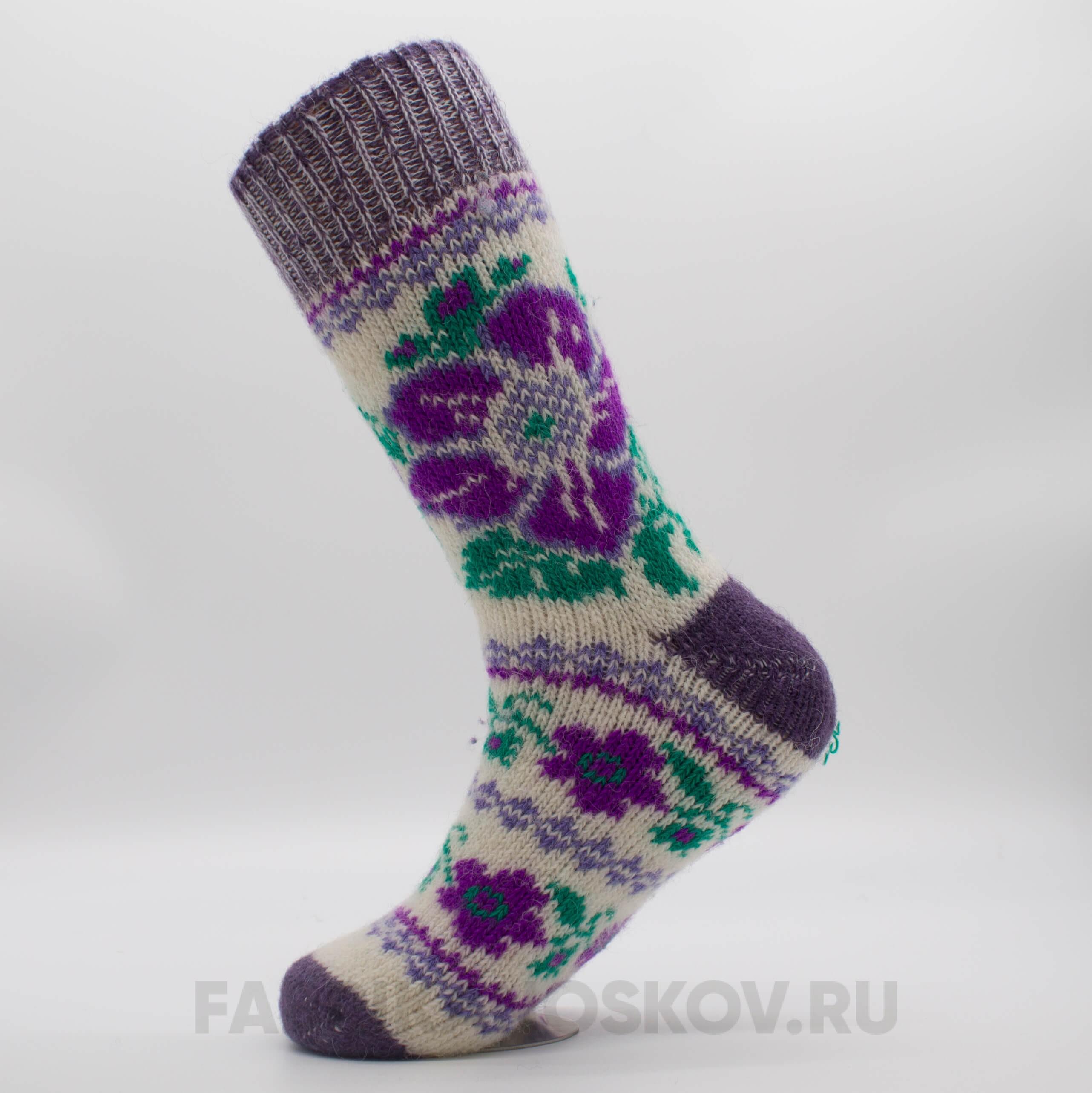 Женские длинные шерстяные носки с цветами