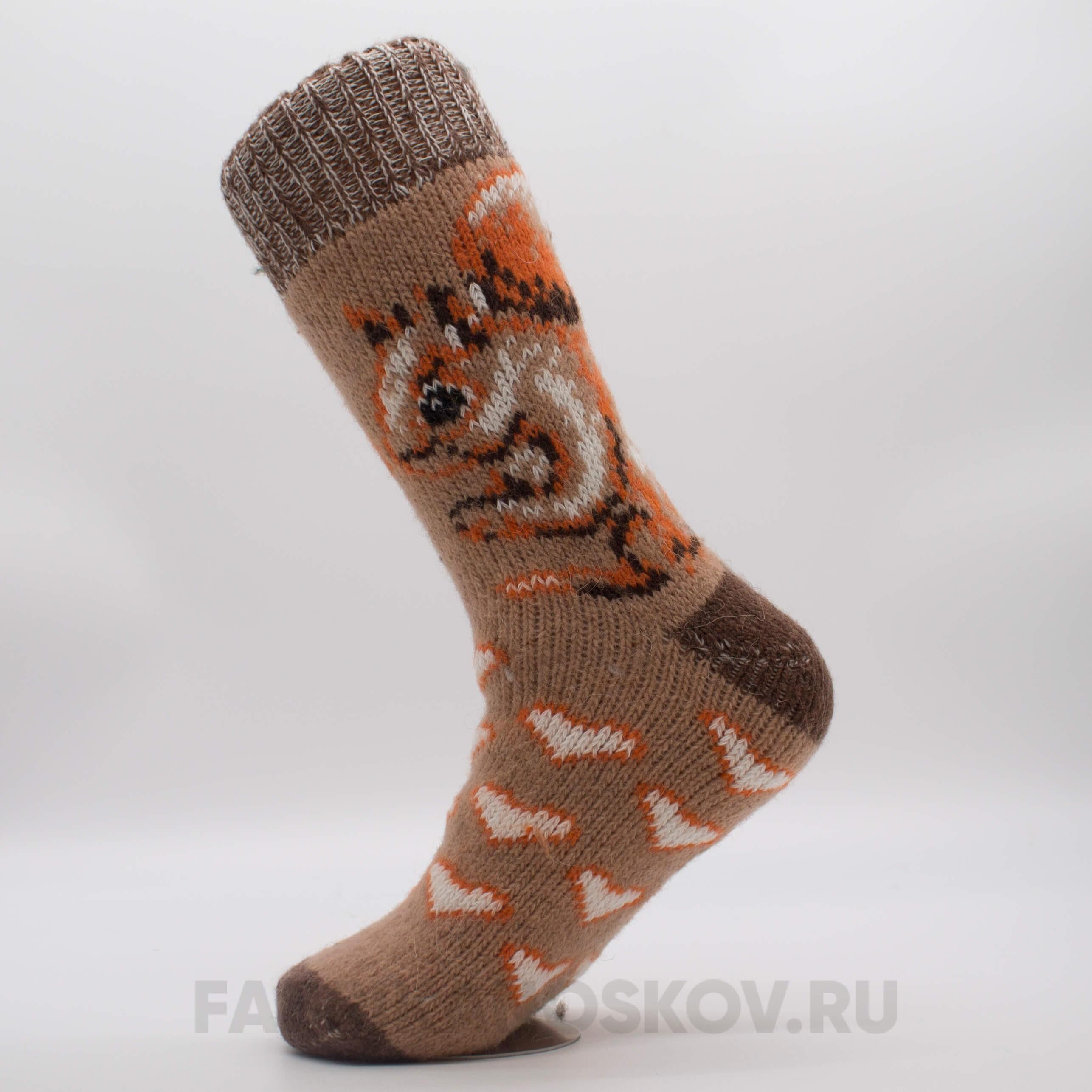 Женские длинные шерстяные носки с белкой