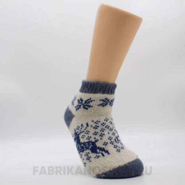 Женские короткие шерстяные носки с оленями с снегом