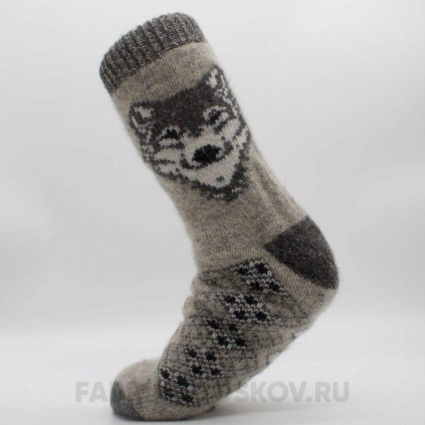 Мужские шерстяные носки с волком
