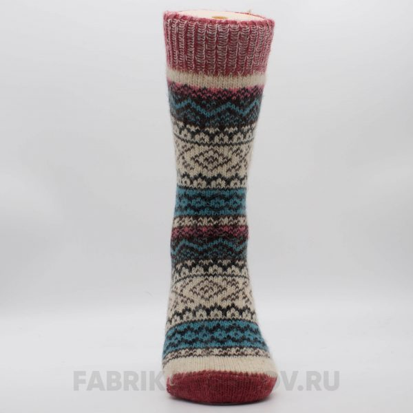 Женские шерстяные носки с ромбами и зигзагами