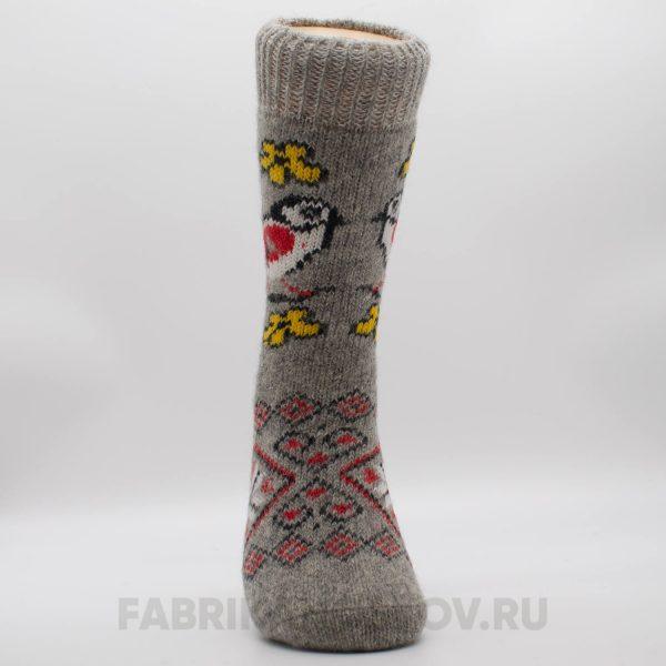 Женские шерстяные носки с птицей и желтыми цветами
