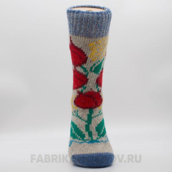 Женские шерстяные носки с красным цветком