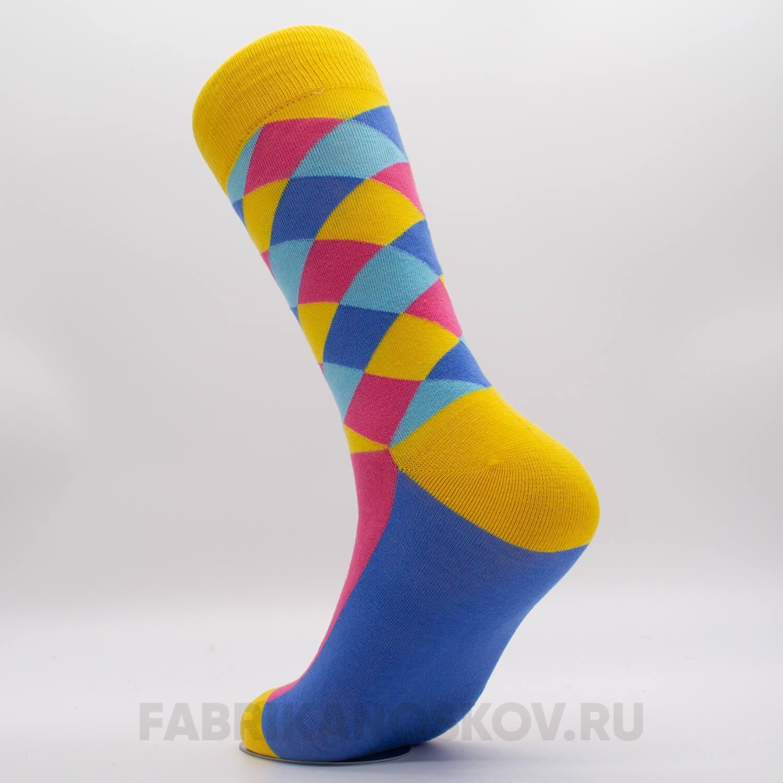 Мужские яркие носки с ромбами