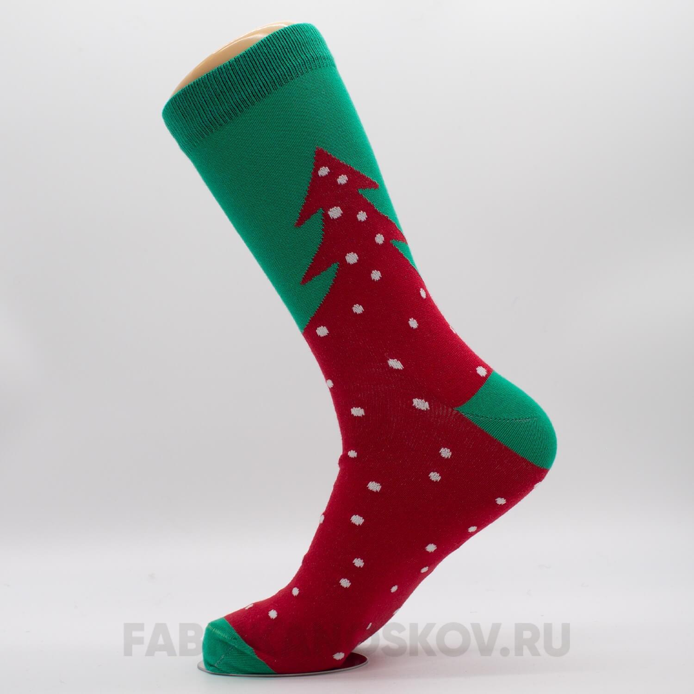 Мужские новогодние носки с елкой