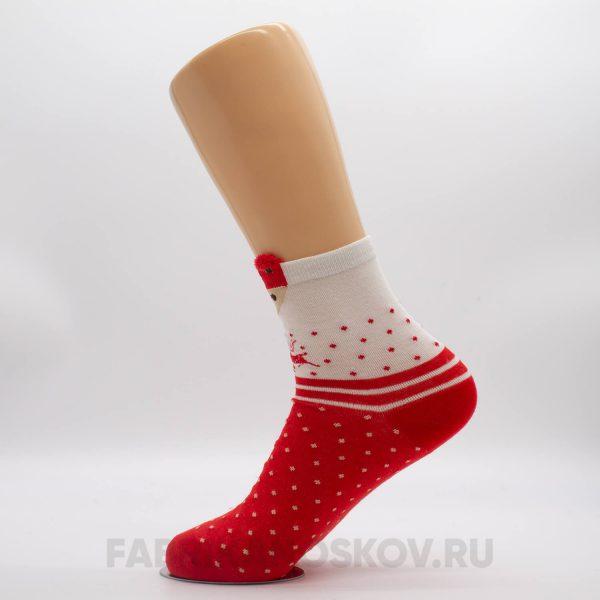 Женские новогодние носки с лисичкой и оленями