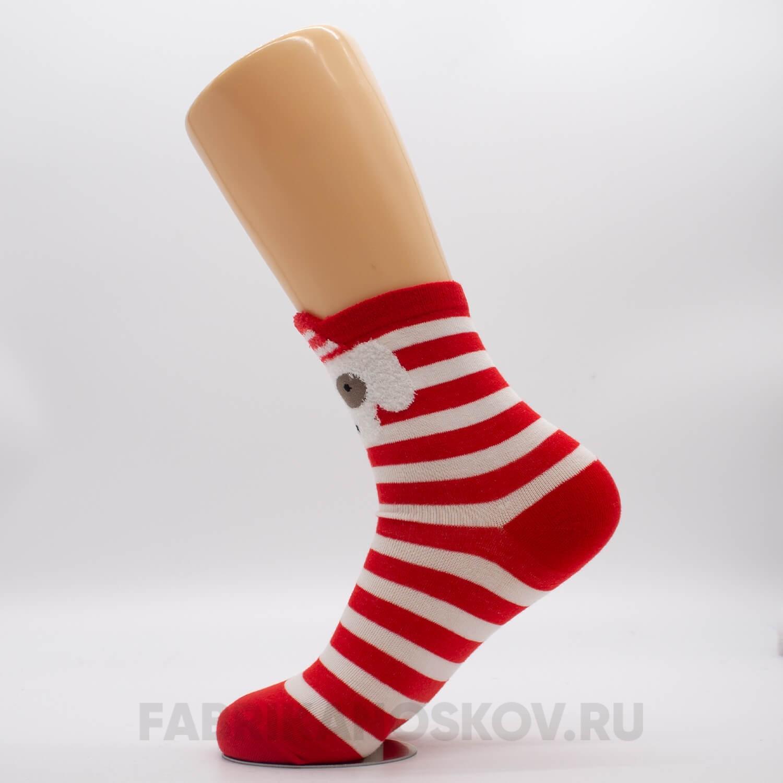 Женские новогодние носки с белой собачкой