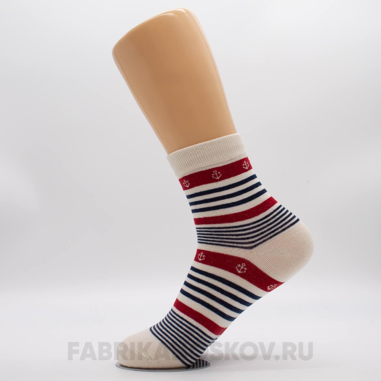 Женские носки в полоску с якорями