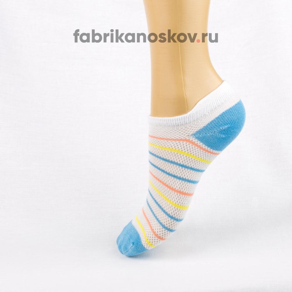 Короткие детские носки с полосками и мыском разных цветов