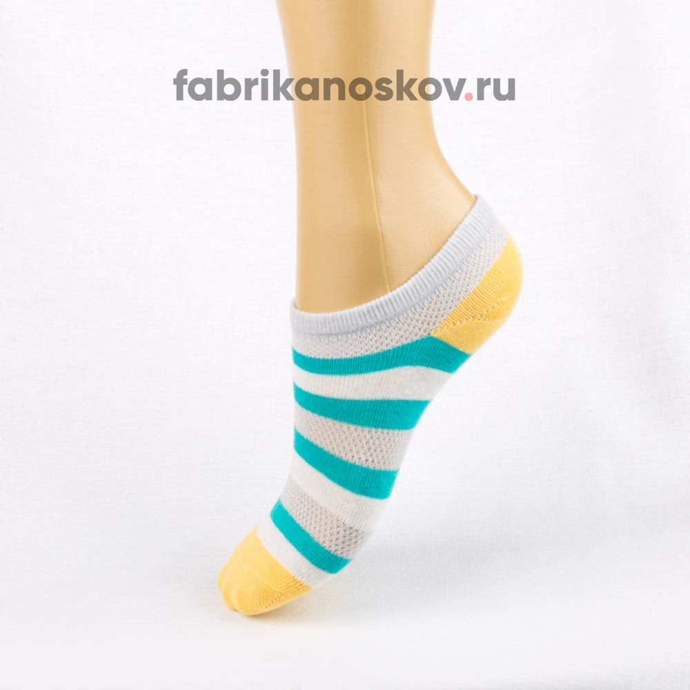 Детские короткие носки с полосками и разноцветными пяткой и мыском