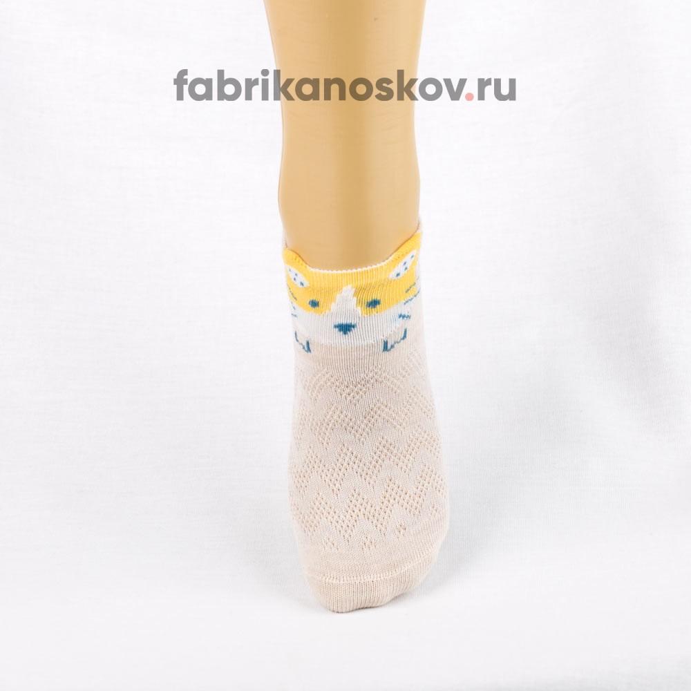 Короткие носки для малышей с изображением мордочки кота