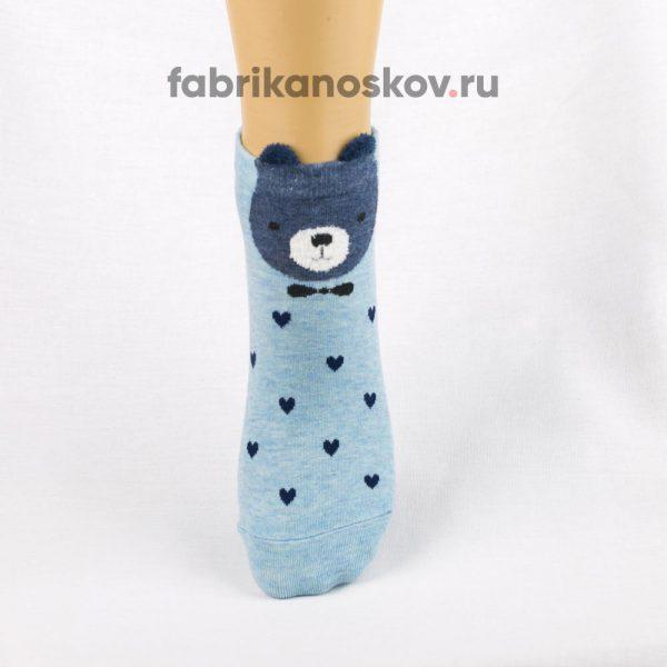 Короткие детские носки с изображением медведя